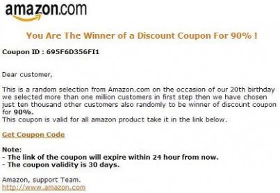 Amazon Scam Congratulations You Are The Winner Of a Discount – Coupon Disclaimer